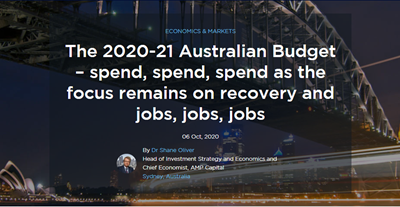 The 2020-21 Australian Budget – spend, spend, spend as the focus remains on recovery and jobs, jobs, jobs